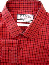 THOMAS PINK Shirt Mens 15.5 M Red & Black Check SLIM FIT