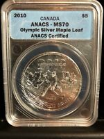 2010 ANACS Certified MS70 Canadian Silver Olympic Maple Leaf 1oz $5
