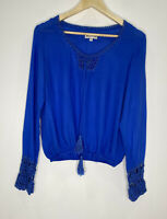 Arnhem Blue Blouse With Crochet Sleeve Size S VGUC