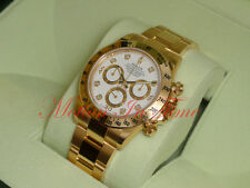 Rolex Cosmograph Daytona 18kt Yellow Gold 40mm White Diamond Dial 116528 UNWORN
