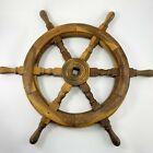"Vintage Wooden Ship Steering Wheel Brass Square Center Hub Teak Wood 24"""