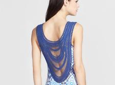 $248 Ella Moss Crochet Back Long Dress L 8 10 Ikat blue maxi