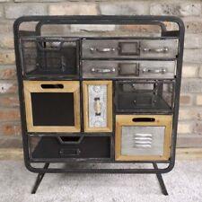 8 Drawer Industrial Cabinet Distressed Black Finish Cupboard Storage Drawer Unit