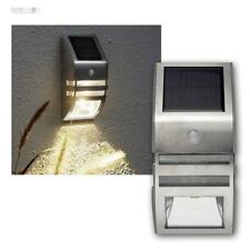 LED Solar Wandleuchte Bewegungsmelder 50 Lumen Edelstahl PIR Wandlampe Strahler