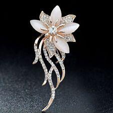 Elegant Bridal Crystal Stone Rhinestone Gold Acrylic Flower Pin Brooch Opal