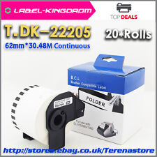 20Rolls Brother Compatible DK-22205 Label 62mm*30.48M All Include Plastic Holder