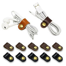 5pcs Button Leather Earphone Cable USB Wire Organizer Cord Wrap Ties Holder