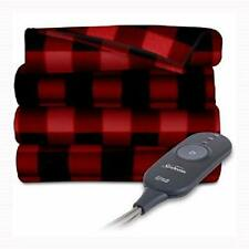Sunbeam Electric Heated Fleece Throw 50x60 Red/Black Heat Warm Soft