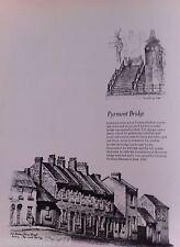 Vintage Original Cedric Emanuel Print 1970- Pyrmont Bridge & old houses Union St