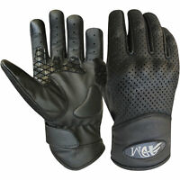 Vented motorbike Leather gloves motorcycle with I touch knuckle shell protection