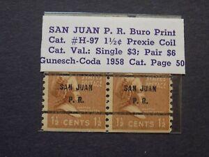 (1) MNH U S. Coil pair precancel stamp-1 1/2 cent M. Washington-w San Juan PR pc