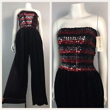 Vintage 1980s 1990s Red and Black Stripe Sequin Sleeveless Jumpsuit One Piece XS