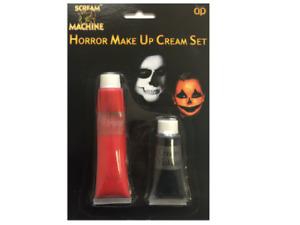 Scream Machine Horror Make Up Cream Face Paint Set Red & Black Halloween