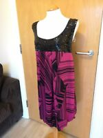 Ladies ROGERS & ROGERS Dress Size 26 Black Pink Beaded Party Evening Smart