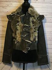 Rosa Rose Womens Small Denim Jean Jacket Rabbit Fur Collar Mad Max LARP Cosplay