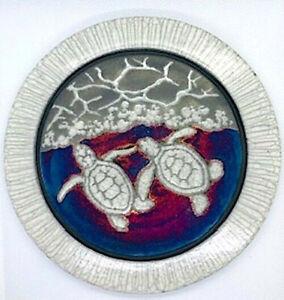 Art Pottery -RAKU  Decorative Art Disk- Hatchlling Sea Turtles - Signed