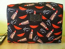 Izak Cosmetic Make-up Bag Case Zipper Black Red Glam Up Lip Lipstick Print NWT