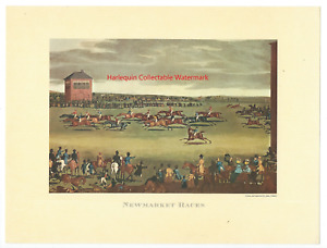 Vtg JAMES POLLARD Lithographic Print NEWMARKET RACES Racehorse Jockey Horses