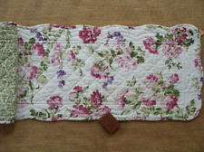 """PINK LADY Quilted Table Runner 42"""" -  Flowers in Pink, Rose, Lavender on White"""
