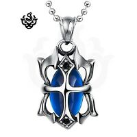 Silver pendant made with blue swarovski crystal stainless steel necklace gothic