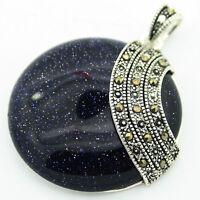 Rare Blue Goldstone Round Stone Marcasite 925 Sterling Silver Necklace Pendant
