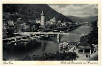 Bad Ems Rheinland-Pfalz alte AK 1954 Blick auf Römerquelle und Wasserturm Brücke