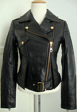 MISS SIXTY Leather Jacket Damen Lederjacke Bikerstyle Black Gr.XS NEU mit ETIKET