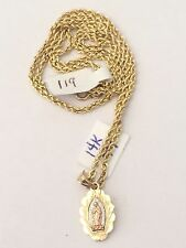14K Yellow Gold Trio Tone Virgin Mary Charm Pendant Hallow 18 inch Rope Chain