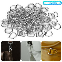 "100pcs 1/2"" Metal D Ring Openable Keyring Bag Strap Buckle Clasp Clip Craft DIY"