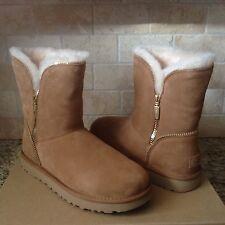 UGG Classic Short Florence Chestnut Suede Sheepskin Boots Size US 10 Womens NIB