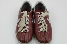 Vintage Women's Nike Swoosh Bowling Shoes Maroon/Red and Matalic Grey Size 6