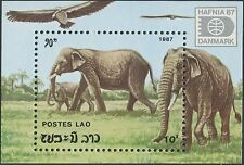 "LAOS Bloc N°96 ** Bf Eléphants , ""Hafnia 87"" 1987 , Elephants  Sheet SC#1335 MNH"
