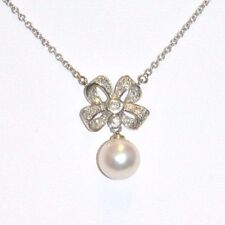 """NWT 0.50CT  Genuine Diamonds/Pearl Necklace 14K Gold 15"""" Rope Chain $2700 Retail"""