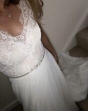 White Rose Wedding Dress  A Line Eyelash Lace Embellished Size 12 Fits A Uk10