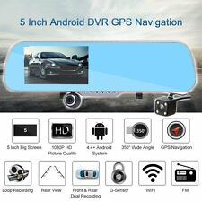 "5"" HD Android GPS Navigation Car Rearview Mirror DVR Dual Lens Camera Free Map Y"