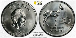 1988 Zambia 20 Ngwee PCGS SP67 Kings Norton Mint Proof