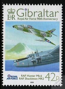 AVRO SHACKLETON MR2 & Hawker HUNTER Mk.VI 2008 RAF Aircraft Stamp (Gibraltar)