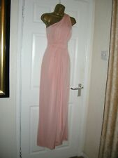12 PETITE ASOS WEDDING BLUSH PINK MAXI SLINKY ONE SHOULDER PARTY WEDDING SUMMER