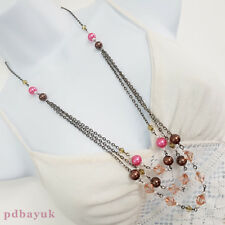 """White Pink Brown Pearl Clear Bead Multi Strand Chain Necklace 76cm 30"""" UK ~1706"""