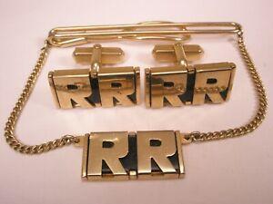 -RR Monogram Initials Letter Font Vintage SWANK Cuff Links & Pendant Tie Clip
