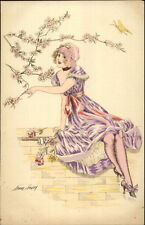 French Glamour - Beautiful Woman Purple Dress - Xavier Sager Postcard