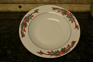 "Poinsettia & Ribbons Christmas Fine China 12"" Round Serving Pasta Bowl"