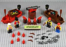 LEGO - 82 pcs Pirate Lot - Minifigure Treasure Chest Jewels Pistol Cutlass Boat