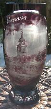 Antique Bohemian Glass Acid Etched Amethyst Vase-Royal Castle-Warsaw-Poland