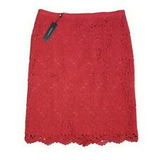Talbots NWT Pencil Skirt with Lace Overlay Size 14 Red