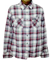 Superdry Ladies Shirt M 12 Grey Red Check Long Sleeve Top Country Super Dry