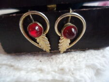 ANTIQUE RUBY GOLD EAR RINGS with VINTAGE LEAF OLD LEAVES EARRINGS RUBIES