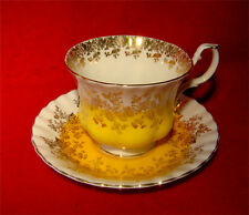 ROYAL ALBERT BONE CHINA TEA CUP & SAUCER REGAL SERIES in YELLOW GOLD TRIMMED