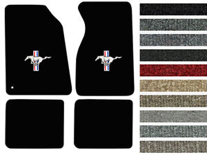 New! 1994-2004 Ford Mustang CARPET Floor Mats w/ Embroidered Pony Logo 4pc Color