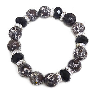 Gem Stone Bracelet Black Marble Pattern Stone Beaded Woman Stretch Bracelet 7.50